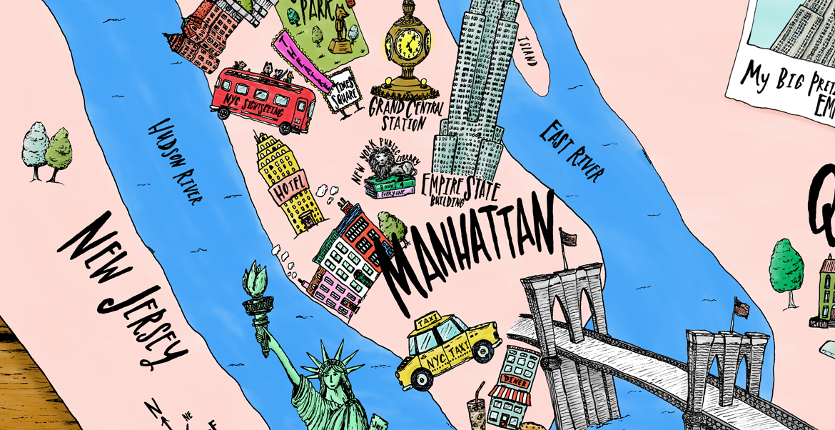 Fitz's NYC travel map from his big New York City adventure!